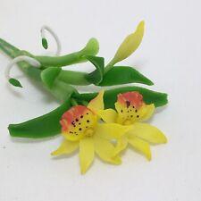 Yellow Hybrid Cattleya Orchid Flower Handmade Clay Plant Miniature Dollhouse