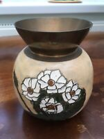 Vintage INDIAN BRASS Vase With White Flower Design 5 Inch