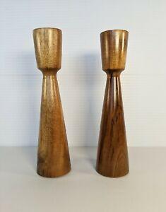 "Mid Century Modern Wooden Candlesticks 8"" Candle Holders Scandi Style Minimalist"