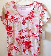Womens Knit Shirt Top Coral/Green Print by Allyson Whitmore S/S Small New Tag