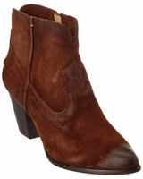 Frye Renee Womens Brown Suede Leather Zip Short Ankle Seam Chukka Boots Bootie