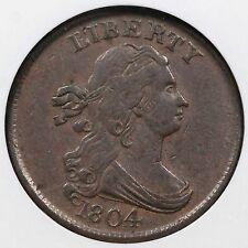 1804 C-10 NGC XF 45 Cross 4 w/ Stems Draped Bust Half Cent Coin 1/2c