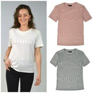 M&S Marks Spencer Geometric Texture Short Sleeve Jersey Work Top T-Shirt 16 - 24
