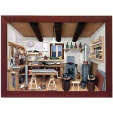 German 3D Wooden Shadow Box Picture Diorama Metalsmith Sheet Metal Workshop