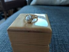 Genuine 14ct Gold PANDORA pearl ring with diamond -New!!!