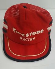 Vintage 80s Firestone Racing Red Snapback Trucker Cap Adjustable One Size