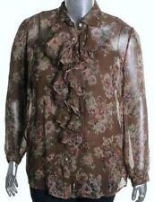 New RALPH LAUREN Womens Shirt Blouse Silk Ruffled 1x Brown Floral Camisole