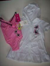 Penny M Swimsuit/Swimwear Girls 2-Piece Sz 12 Months White Pink Butterflies New