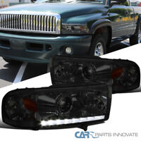 Fit 94-01 Dodge Ram 1500 94-02 Ram 2500 3500 Smoke SMD LED Projector Headlights