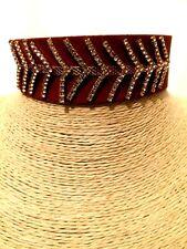 Womens Statement Brown Fabric Crystal Choker Necklace Diamante Rhinestone
