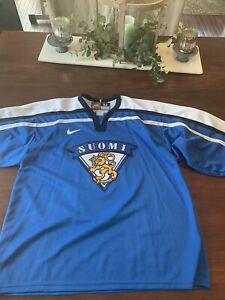 Teemu Selanne Finland Hockey Jersey Olympics Nike Large Size 52 Stitched RARE
