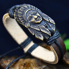 Women Men Indiana Tribal Wrap Genuine Leather Cuff Bracelet zewelry Hoary ;