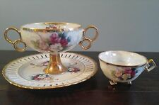 Vintage Lusterware Compote Dish White Pink Burgundy Pedestal Ring Handle Lattice