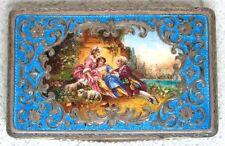 SUPER NICE & RARE ANTIQUE AUSTRIAN STERLING SILVER & BLUE ENAMEL CASE