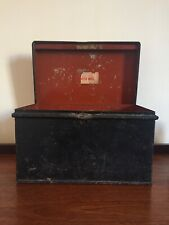 Antique Victorian Steel Deed Box Black And Red With Partial Original Label