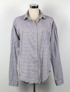 QUIKSILVER Shirt Sz M Womens Blouse Grey Stripe Tab Long Sleeve Button Up Top