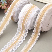 HESSIAN LACE Ribbon Jute Burlap Rustic Chic Wedding Christmas Vintage Craft Trim
