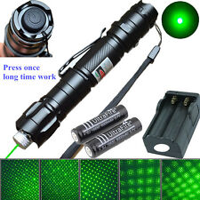 10 Miles Powerful 5mw 009 Green Laser Pointer Pen 532nm Zoom Burning + 2xBattery