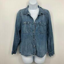 Women S Madewell Long Slv Button Blue Chambray Denim Jean Shirt Top Blouse