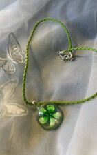 "New Hand Made Glass Green Flower Embossed Necklace 18"" Adjustable Chain"