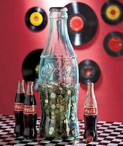 Large Cola Bottle Piggy Bank Coin Storage Box Coke Kids Tall Money Safe Decor