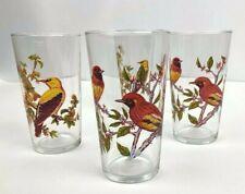 Vintage Glasses Birds Set 4 Juice Glases Tumblers Drinkware Summer Party