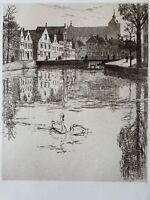 Armington gravure eau forte etching Le Qu'au Long Bruges Belgique