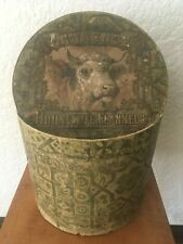 Antique 19th Century Wallpaper Band Box Lawrence House Flannels Label Kansas
