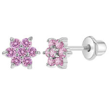 Rhodium Plated Small Girls Crystal Flower CZ Screw Back Earrings Toddlers Kids