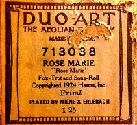 DUO-ART Friml ROSE MARIE Milne & Erlebach 713038 Reproducing Player Piano Roll