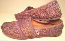 TOMS Kid Youth Girl Y2M Purple Coral LACE SHOES Slippers Loafer Espadrilles GUC