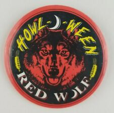 Red Wolf Beer Howl O Ween 3'' inch Button Pin