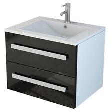 Badset Arosa schwarz Badmöbel Badezimmermöbel Waschtisch 60 cm Waschbecken Set