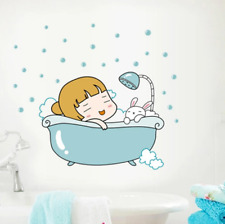 Lovely Girl Bathroom Wall Stickers Cute Girl Wall Decals Removable Home Decor
