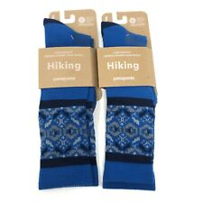 Patagonia Lightweight Merino Wool Hiking Crew Socks Blue - Men's Size L (9-11.5)