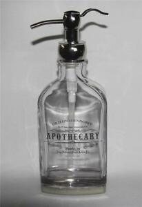 LRG Pedestal Apothecary Dr. H.GNADENDORFF Silver Writing Soap Dispenser Dbl Top