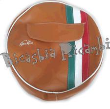1084 COPRIRUOTA MARRONE FASCIA TRICOLORE 3-50-10 VESPA 125 150 200 PX ARCOBALENO