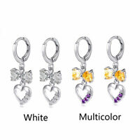Fashion Women White Gold Filled Hollow Heart Crystal CZ Bow Dangle Hoop Earrings