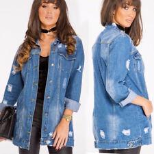 Womens Stonewash Blue Longline Distressed Ripped Oversized Denim Biker Jacket