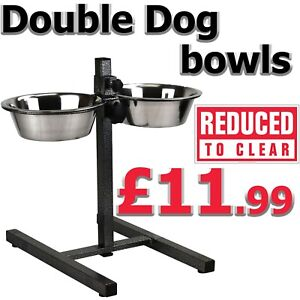 Double Stainless Steel Raised Dog Bowls Elevated Stand Adjustable Pet Food Water