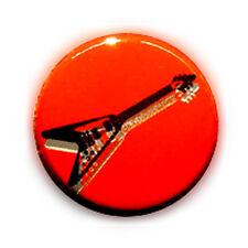 Badge GUITARE Triangle NOIR Fond ROUGE rock punk metal hard pop buttons Ø25mm