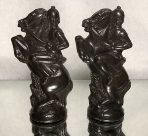 """VINTAGE PLASTIC MEDIEVAL KNIGHT LOT CHESS PIECES 3.25""""/ BROWN/ LOOSE/ PRE OWNED"""