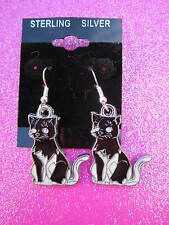 925 Sterling Silver Black and White Cat Dangle Earrings