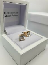 Yellow gold finish Princess cut created diamond 5mm stud earrings