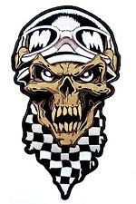 """Checkered Flag Demon Biker Cafe Racer Skull Big XL Embroidered Back Patch 9.9"""""""