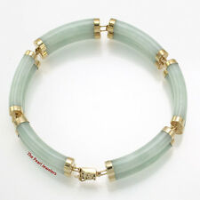 14k Yellow Gold 6 Segments of Double Curved Tube Apple Green Jade Bracelet TPJ