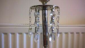 ANTIQUE STYLE TALL BRASS CANDLE HOLDER WITH HANGING BEADS & FINISH VELVET BASE