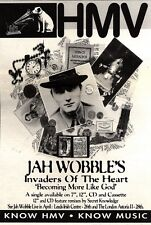 """NEWSPAPER CLIPPING/ADVERT 23/4/94PGN31 10X7"""" JAH WOBBLE'S : INVADERS OF THE HEAR"""