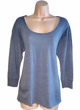 Eileen Fisher ~ Size M ~ Blue Linen 3/4 Sleeve Pocket Detail Tee shirt