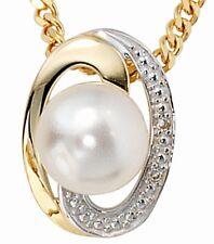 COLGANTE ORO Amarillo 585 1 perla de Agua Dulce 2 brillantes-diamantes